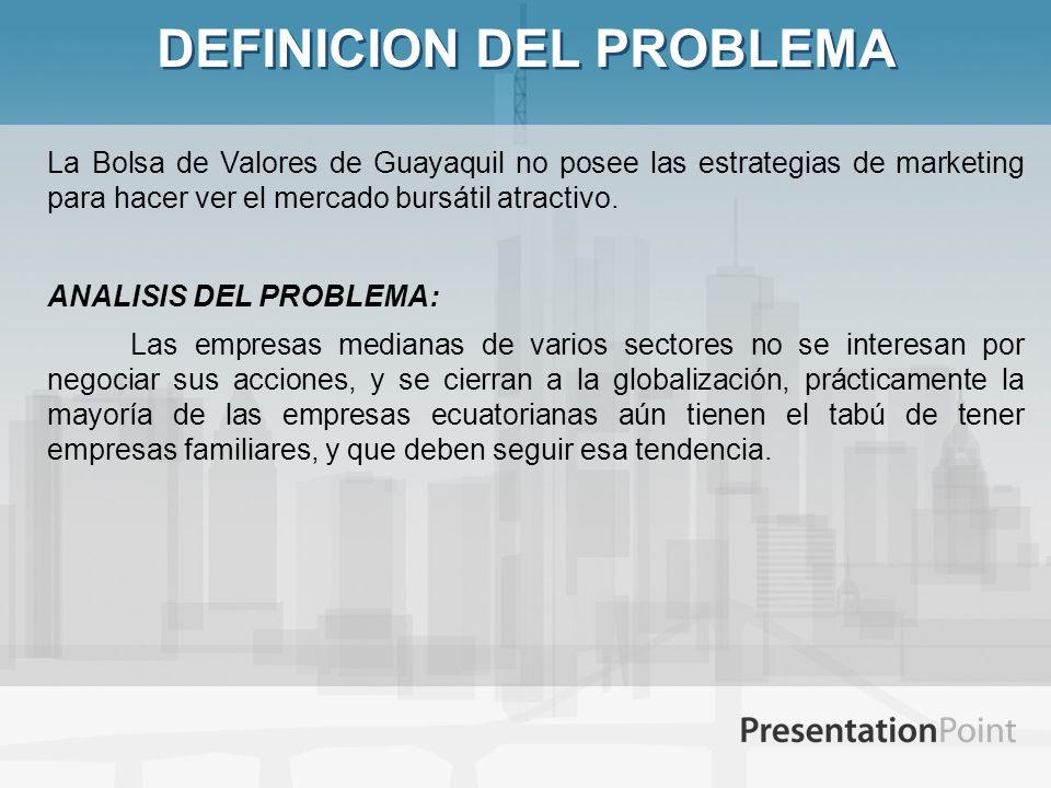 DEFINICION DEL PROBLEMA La Bolsa de Valores de Guayaquil no posee las estrategias de marketing para hacer ver el mercado bursátil atractivo. ANALISIS