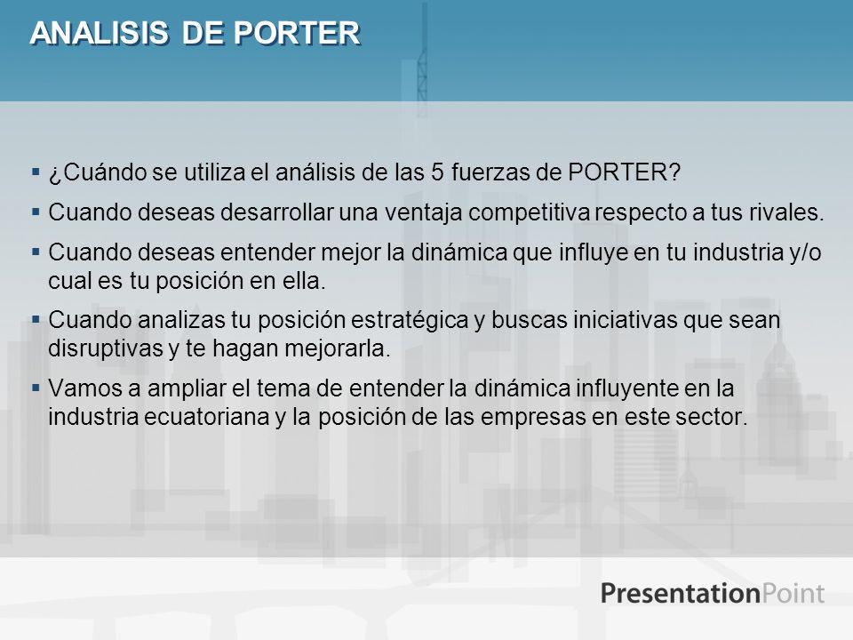ANALISIS DE PORTER ¿Cuándo se utiliza el análisis de las 5 fuerzas de PORTER? Cuando deseas desarrollar una ventaja competitiva respecto a tus rivales