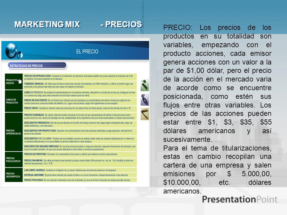 MARKETING MIX- PRECIOS PRECIO: Los precios de los productos en su totalidad son variables, empezando con el producto acciones, cada emisor genera acci