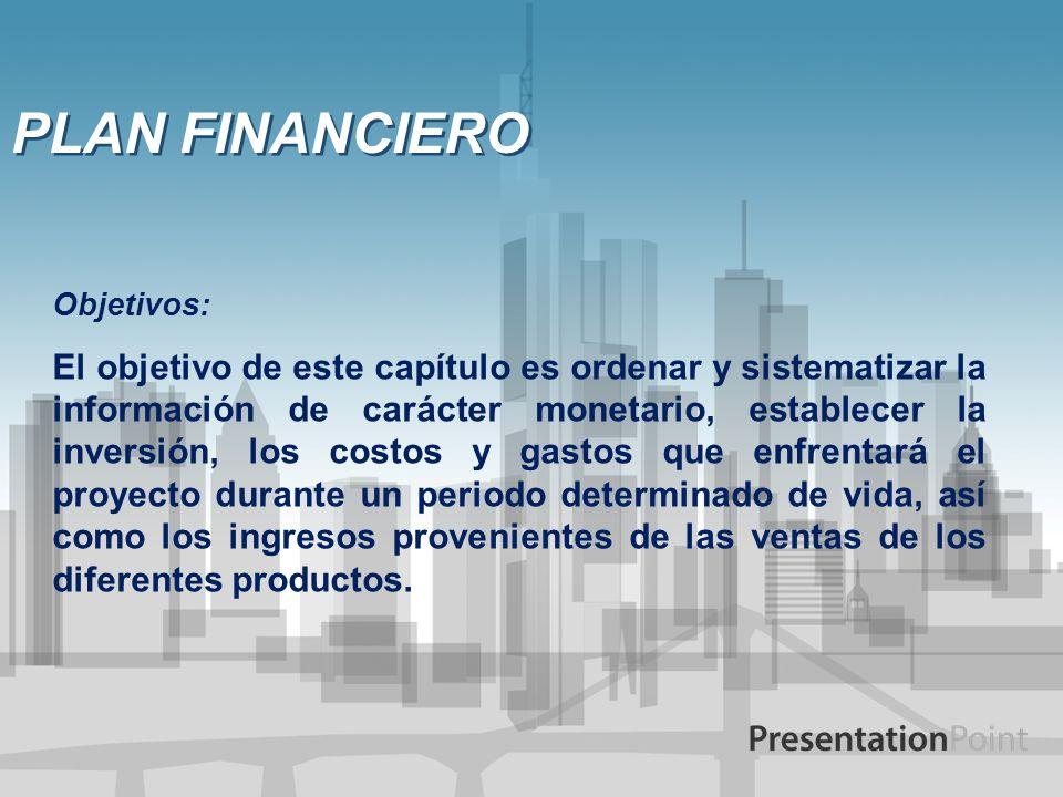 PLAN FINANCIERO Objetivos: El objetivo de este capítulo es ordenar y sistematizar la información de carácter monetario, establecer la inversión, los c