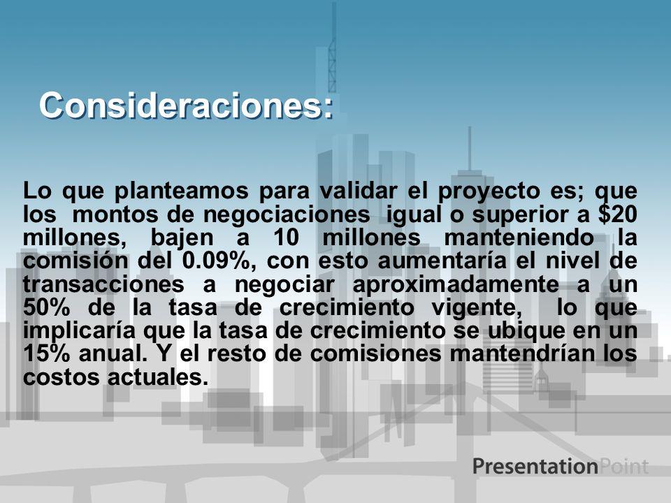 Consideraciones: Lo que planteamos para validar el proyecto es; que los montos de negociaciones igual o superior a $20 millones, bajen a 10 millones m