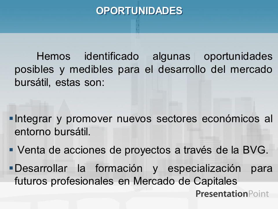 ESTUDIO ORGANIZACIONAL (BVG) La Misión incluye impulsar el desarrollo de la cultura financiera en la Sociedad y la inserción del Ecuador en los Mercados Financieros Internacionales, mediante la administración de mercados eficientes, transparentes, equitativos, competitivos, seguros y supervisados, en beneficio de los emisores, inversionistas, y así generar valor para los mismos mediante un equilibrio entre los objetivos de rentabilidad y el desarrollo de las estrategias para alcanzar las metas en el mediano y largo plazo.