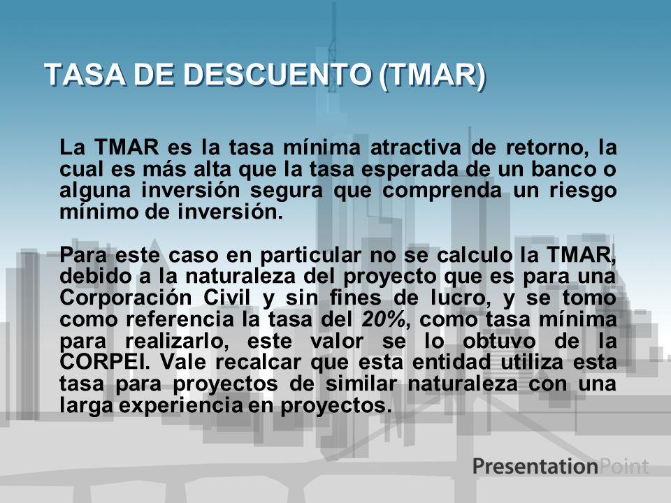TASA DE DESCUENTO (TMAR) La TMAR es la tasa mínima atractiva de retorno, la cual es más alta que la tasa esperada de un banco o alguna inversión segur
