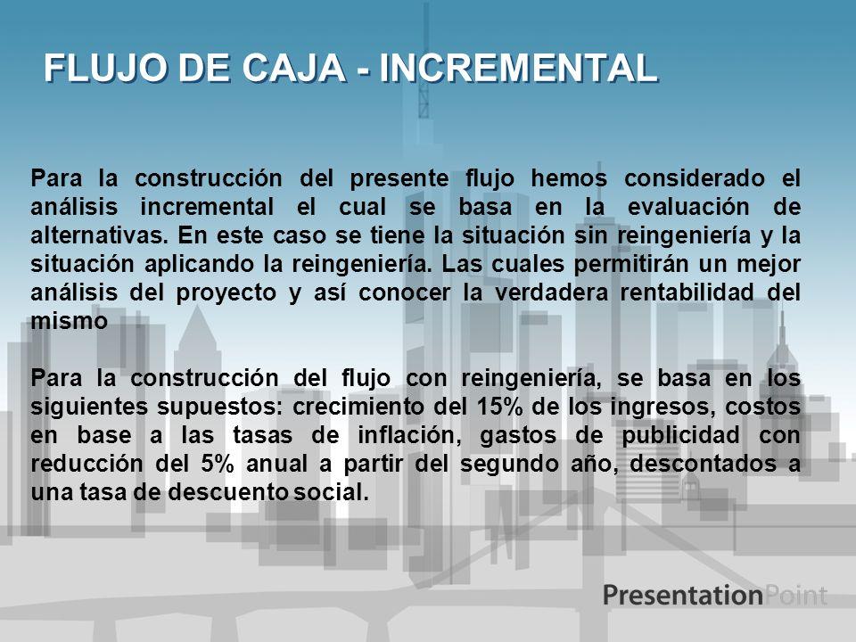FLUJO DE CAJA - INCREMENTAL Para la construcción del presente flujo hemos considerado el análisis incremental el cual se basa en la evaluación de alte