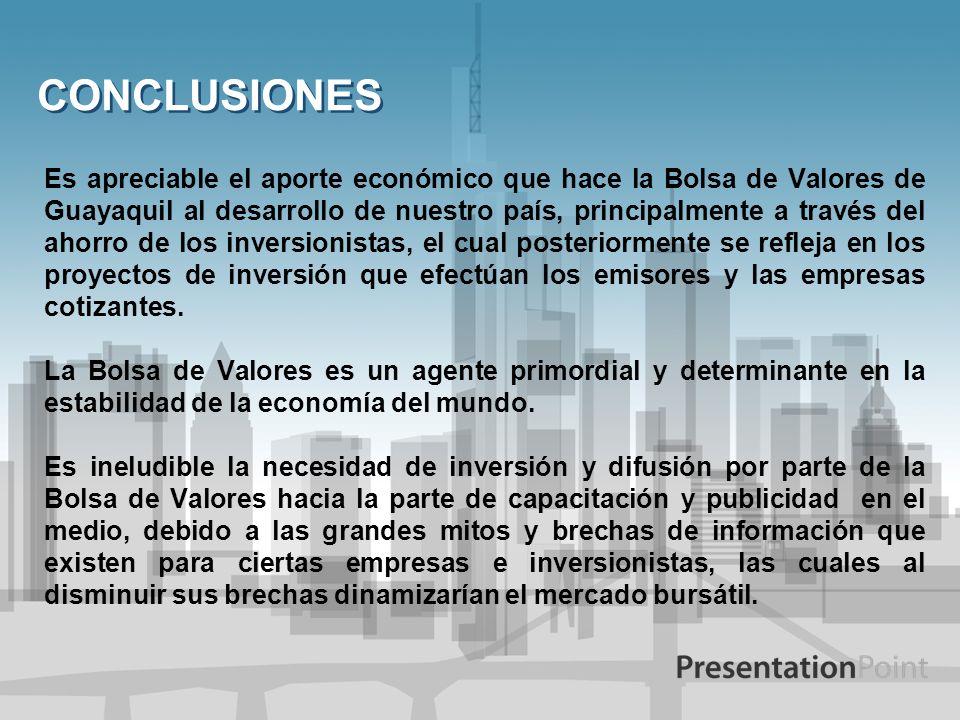 CONCLUSIONES Es apreciable el aporte económico que hace la Bolsa de Valores de Guayaquil al desarrollo de nuestro país, principalmente a través del ah