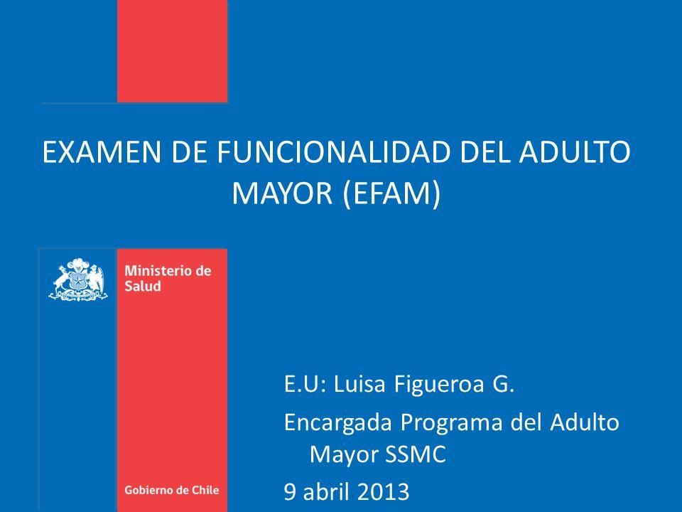 EXAMEN DE FUNCIONALIDAD DEL ADULTO MAYOR (EFAM) E.U: Luisa Figueroa G. Encargada Programa del Adulto Mayor SSMC 9 abril 2013