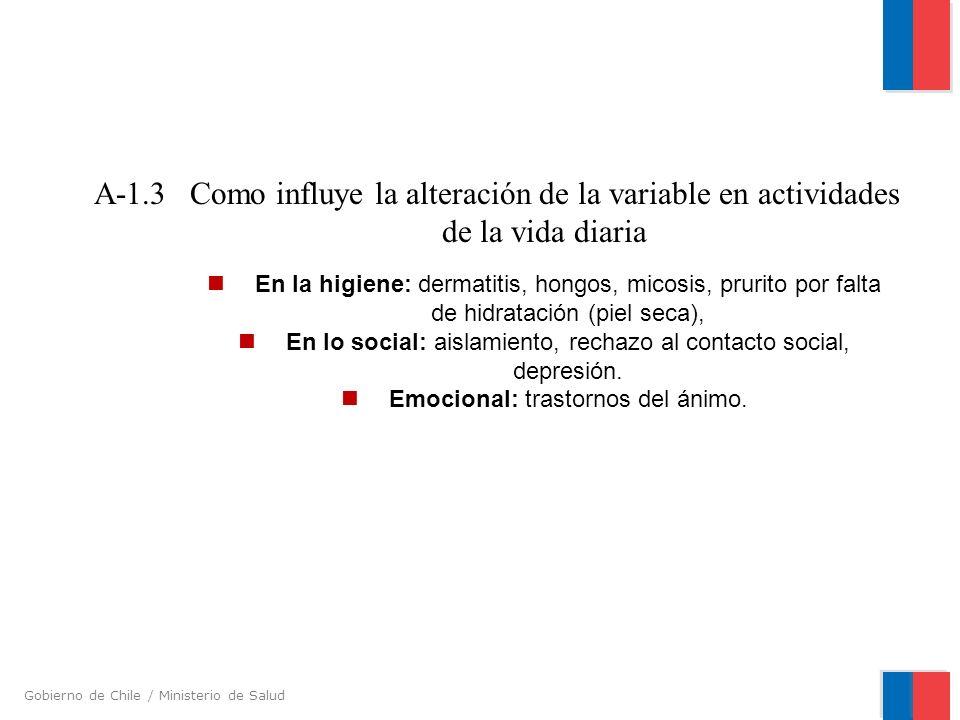 Gobierno de Chile / Ministerio de Salud En la higiene: dermatitis, hongos, micosis, prurito por falta de hidratación (piel seca), En lo social: aislam