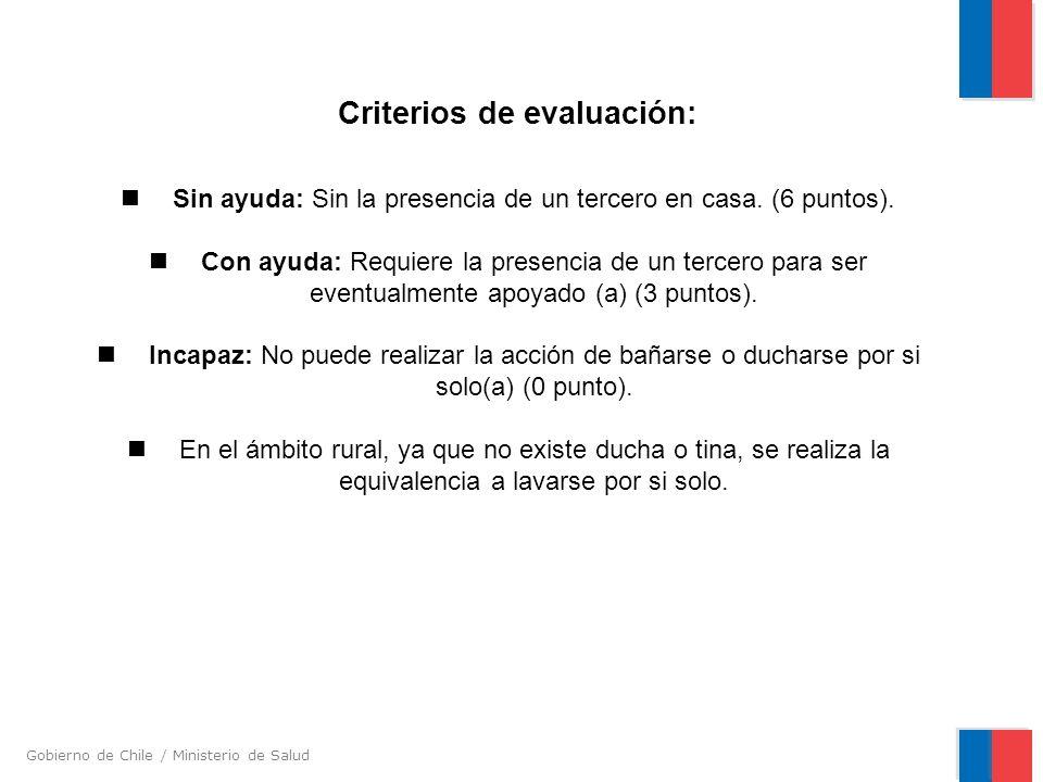 Gobierno de Chile / Ministerio de Salud Criterios de evaluación: Sin ayuda: Sin la presencia de un tercero en casa. (6 puntos). Con ayuda: Requiere la
