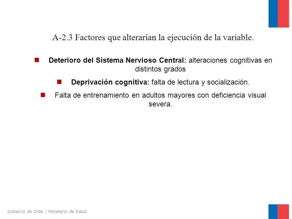 Gobierno de Chile / Ministerio de Salud A-2.3 Factores que alterarían la ejecución de la variable. Deterioro del Sistema Nervioso Central: alteracione