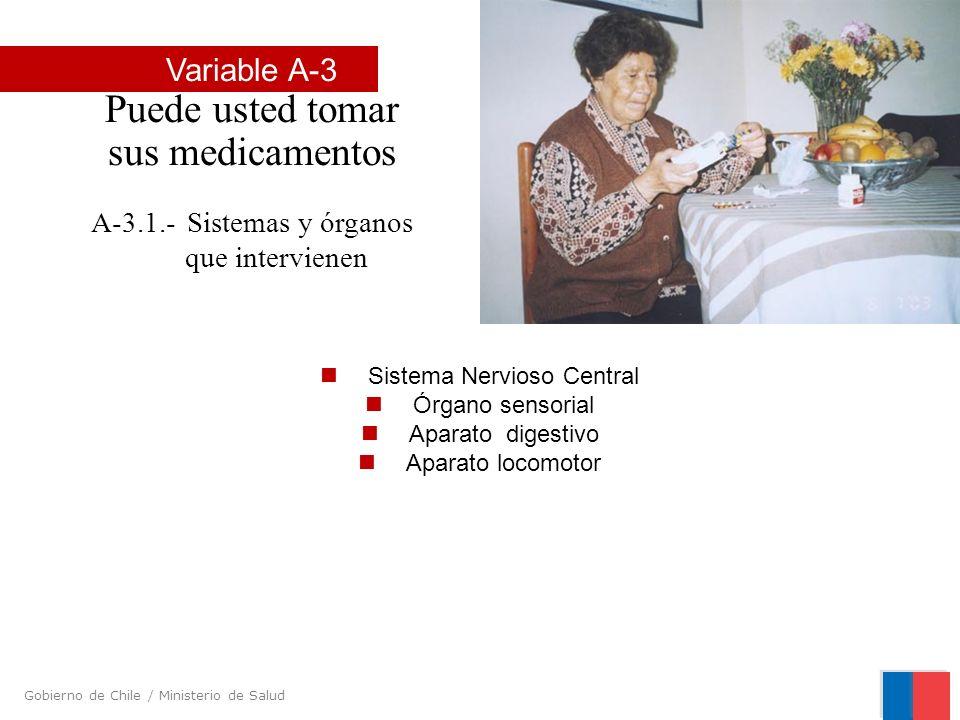 Gobierno de Chile / Ministerio de Salud Sistema Nervioso Central Órgano sensorial Aparato digestivo Aparato locomotor Variable A-3 Puede usted tomar s