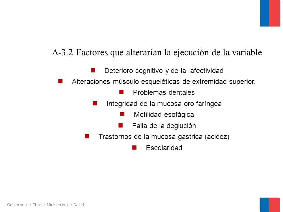 Gobierno de Chile / Ministerio de Salud A-3.2 Factores que alterarían la ejecución de la variable Deterioro cognitivo y de la afectividad Alteraciones