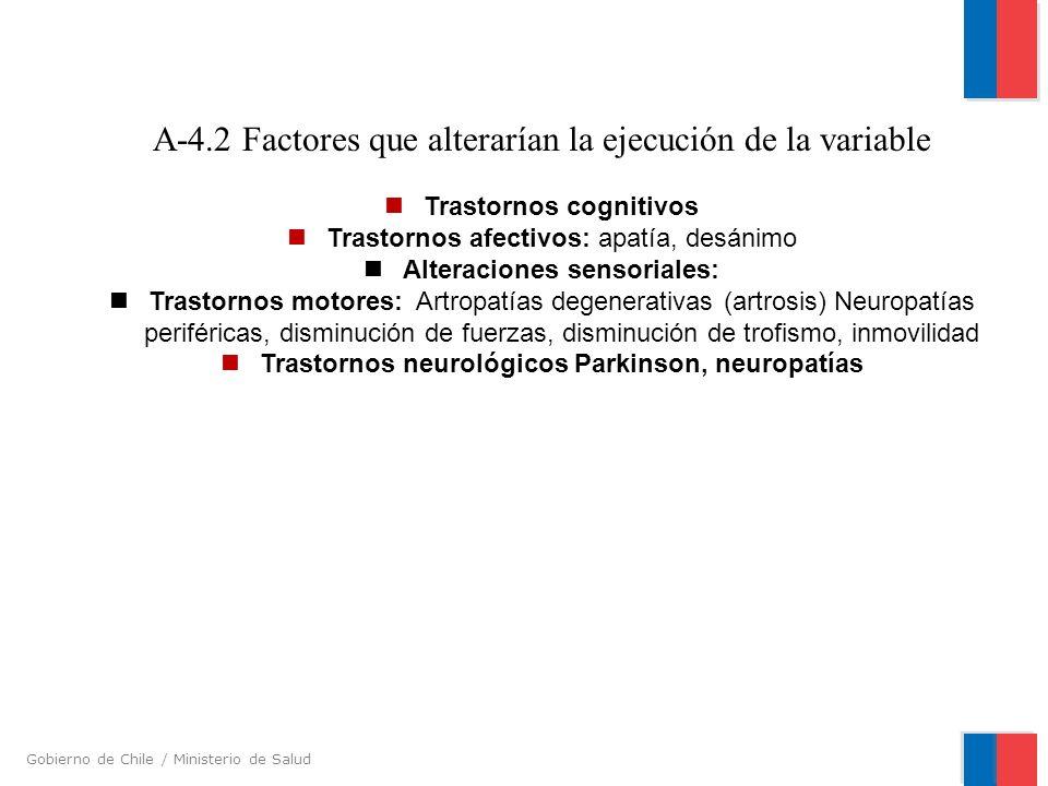 Gobierno de Chile / Ministerio de Salud A-4.2 Factores que alterarían la ejecución de la variable Trastornos cognitivos Trastornos afectivos: apatía,