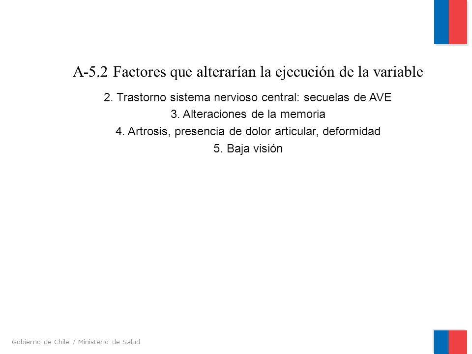 Gobierno de Chile / Ministerio de Salud A-5.2 Factores que alterarían la ejecución de la variable 2. Trastorno sistema nervioso central: secuelas de A