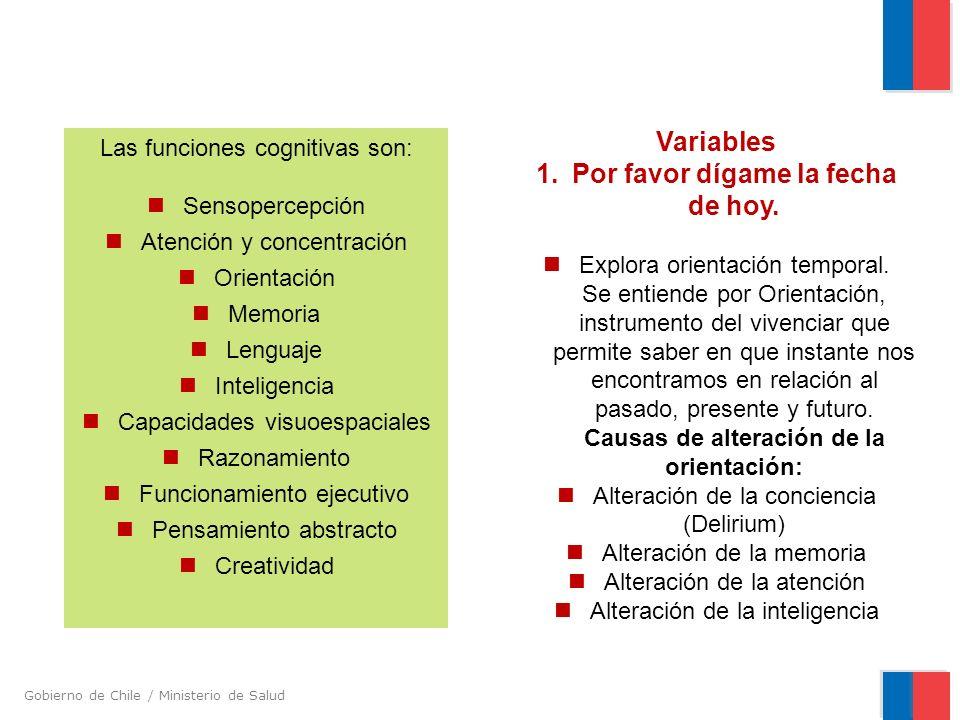Gobierno de Chile / Ministerio de Salud Las funciones cognitivas son: Sensopercepción Atención y concentración Orientación Memoria Lenguaje Inteligenc