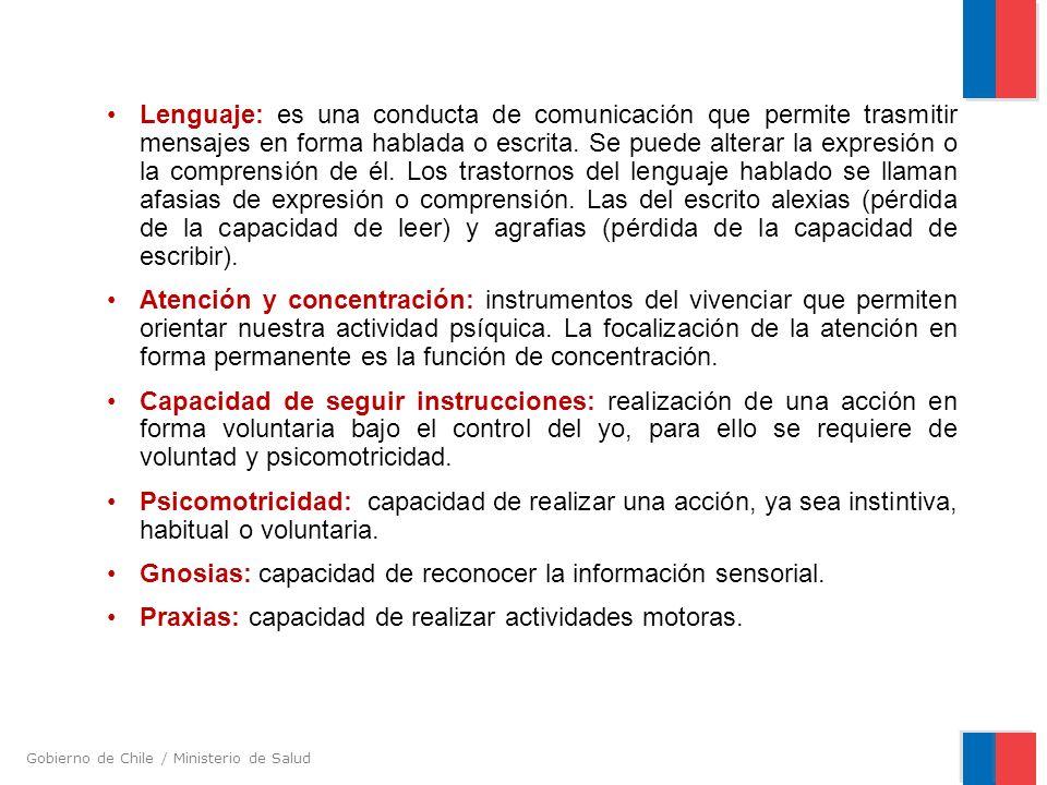 Gobierno de Chile / Ministerio de Salud Lenguaje: es una conducta de comunicación que permite trasmitir mensajes en forma hablada o escrita. Se puede
