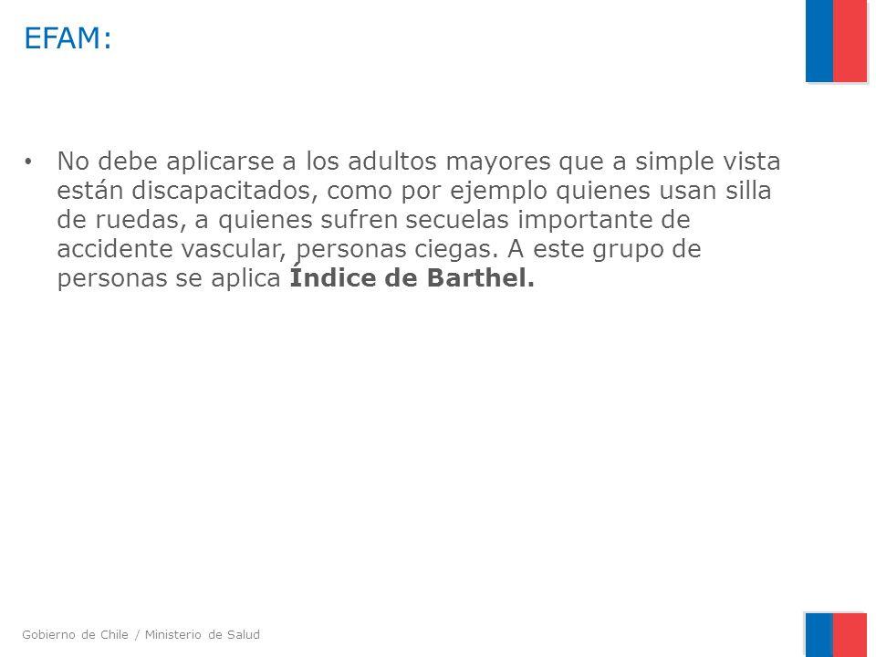 Gobierno de Chile / Ministerio de Salud A-5.3 Como influye la alteración de la variable en actividades de la vida diaria.
