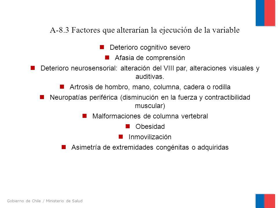 Gobierno de Chile / Ministerio de Salud A-8.3 Factores que alterarían la ejecución de la variable Deterioro cognitivo severo Afasia de comprensión Det