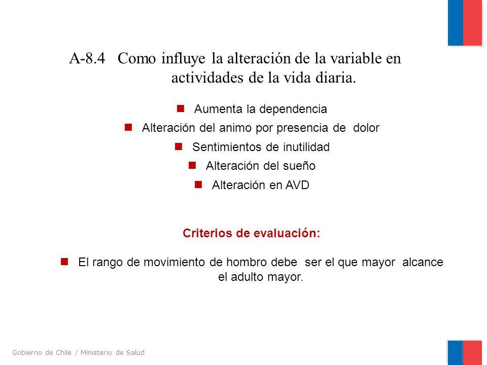 Gobierno de Chile / Ministerio de Salud A-8.4 Como influye la alteración de la variable en actividades de la vida diaria. Aumenta la dependencia Alter