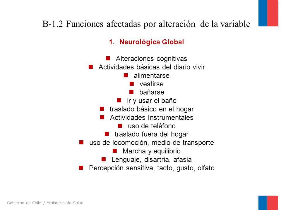 Gobierno de Chile / Ministerio de Salud B-1.2 Funciones afectadas por alteración de la variable 1. Neurológica Global Alteraciones cognitivas Activida