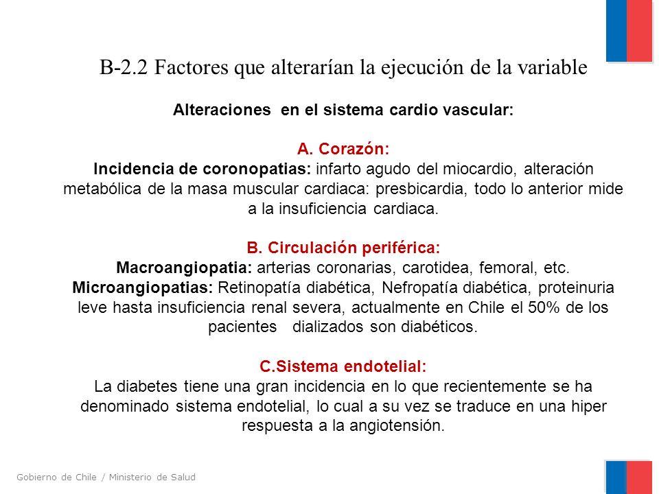 Gobierno de Chile / Ministerio de Salud B-2.2 Factores que alterarían la ejecución de la variable Alteraciones en el sistema cardio vascular: A. Coraz