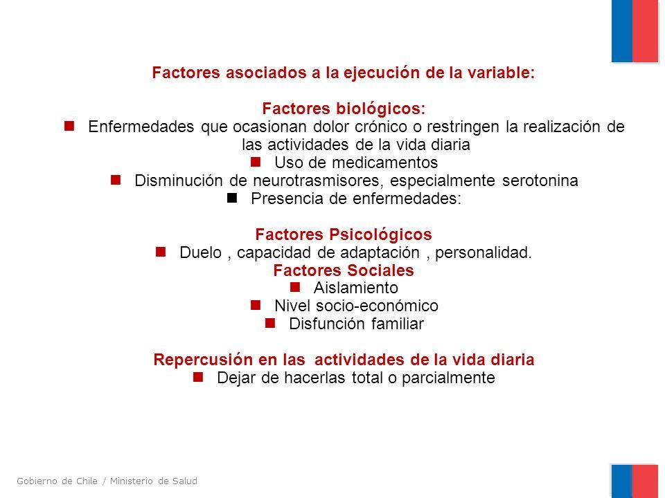 Gobierno de Chile / Ministerio de Salud Factores asociados a la ejecución de la variable: Factores biológicos: Enfermedades que ocasionan dolor crónic