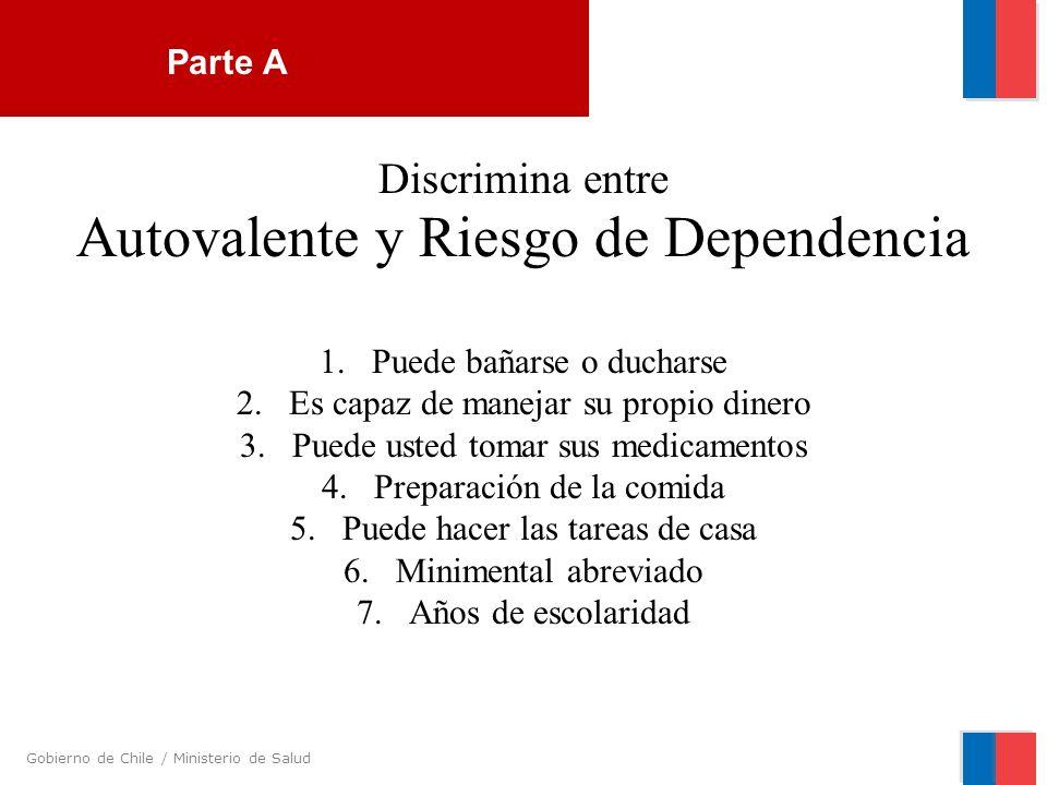 Gobierno de Chile / Ministerio de Salud Discrimina entre Autovalente y Riesgo de Dependencia 1.Puede bañarse o ducharse 2.Es capaz de manejar su propi