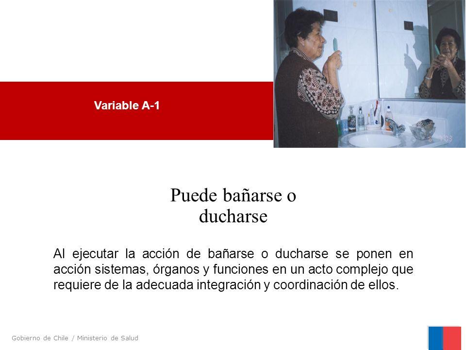Gobierno de Chile / Ministerio de Salud Variable A-1 Puede bañarse o ducharse Al ejecutar la acción de bañarse o ducharse se ponen en acción sistemas,