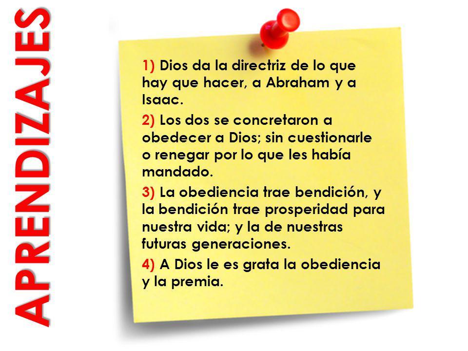 APRENDIZAJES APRENDIZAJES 1) Dios da la directriz de lo que hay que hacer, a Abraham y a Isaac. 2) Los dos se concretaron a obedecer a Dios; sin cuest