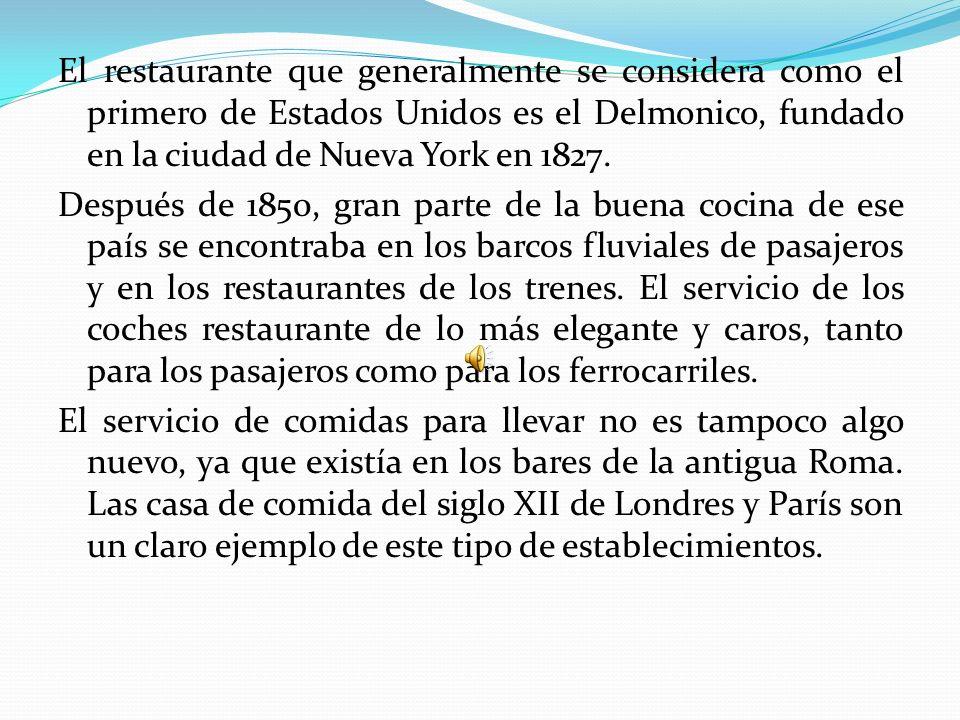Antecedentes Las salidas a comer tienen una larga historia. Las tabernas existían ya en el año 1700 a. J.C. se han encontrado pruebas de la existencia