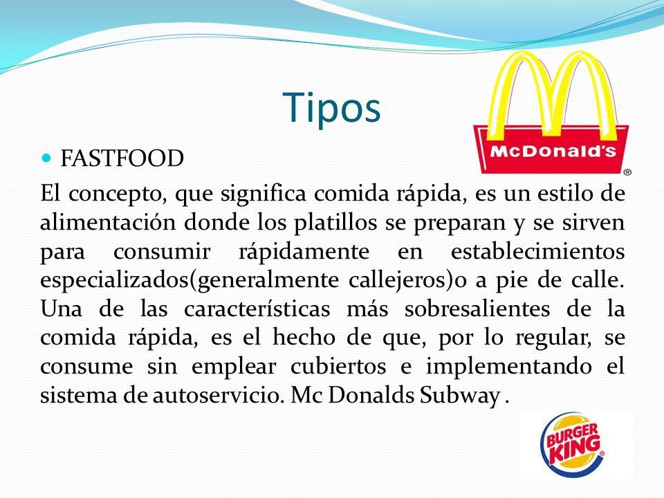 Tipos FASTFOOD El concepto, que significa comida rápida, es un estilo de alimentación donde los platillos se preparan y se sirven para consumir rápidamente en establecimientos especializados(generalmente callejeros)o a pie de calle.