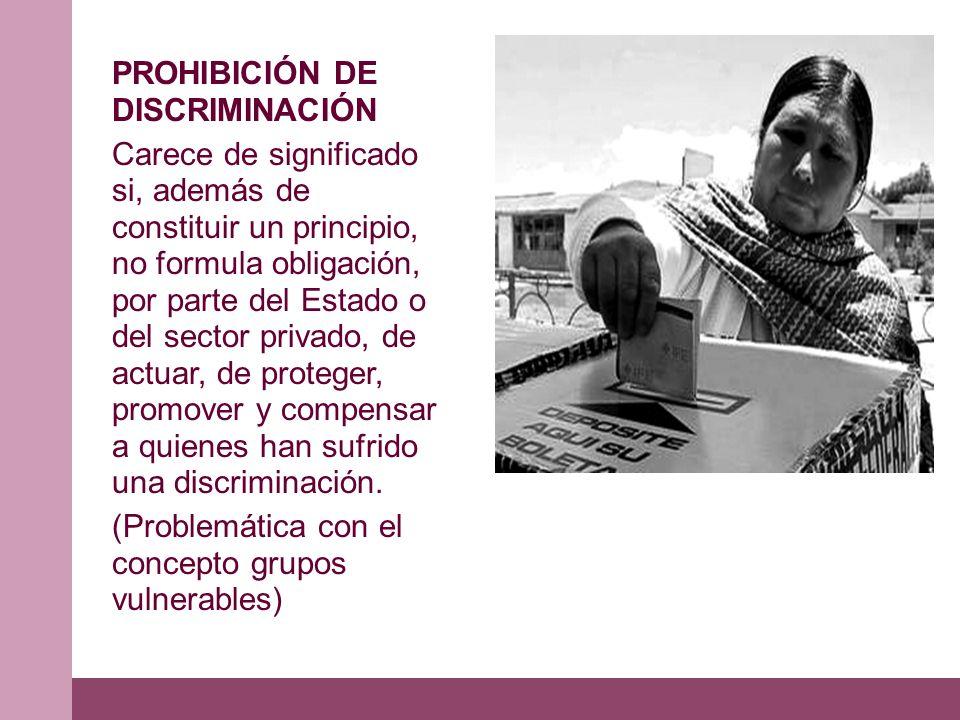 PROHIBICIÓN DE DISCRIMINACIÓN Carece de significado si, además de constituir un principio, no formula obligación, por parte del Estado o del sector privado, de actuar, de proteger, promover y compensar a quienes han sufrido una discriminación.