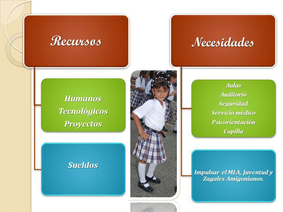 Recursos HumanosTecnológicosProyectos Sueldos Necesidades AulasAuditorioSeguridad Servicio médico PsicorientaciónCapilla Impulsar el MLA, Juventud y Z
