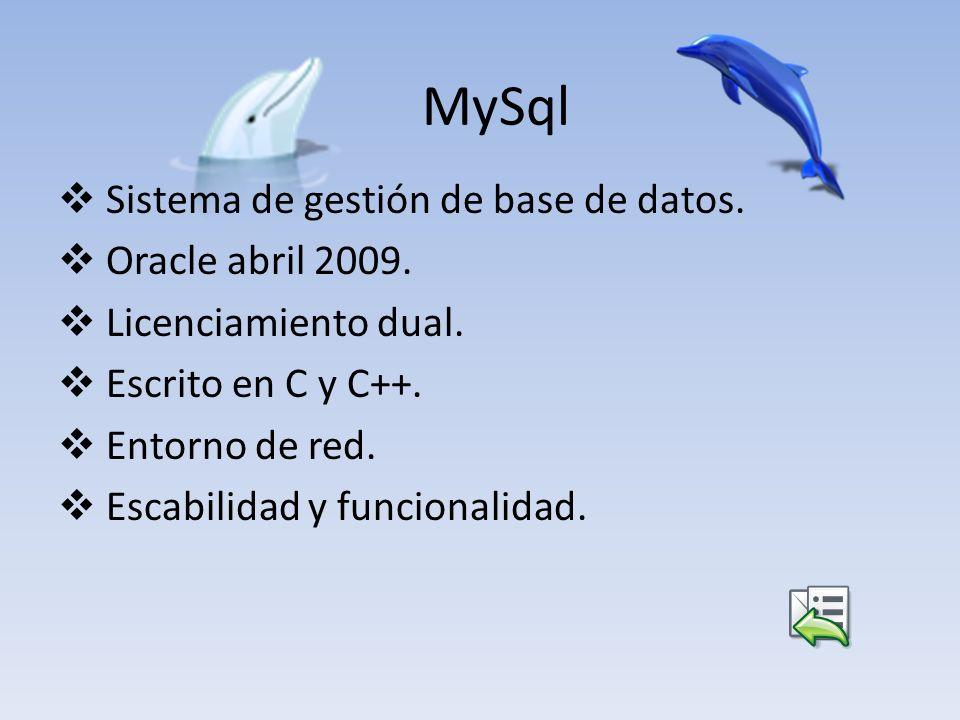 MySql Sistema de gestión de base de datos. Oracle abril 2009. Licenciamiento dual. Escrito en C y C++. Entorno de red. Escabilidad y funcionalidad.