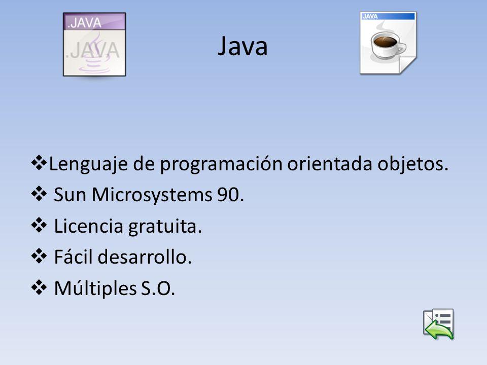Java Lenguaje de programación orientada objetos. Sun Microsystems 90. Licencia gratuita. Fácil desarrollo. Múltiples S.O.