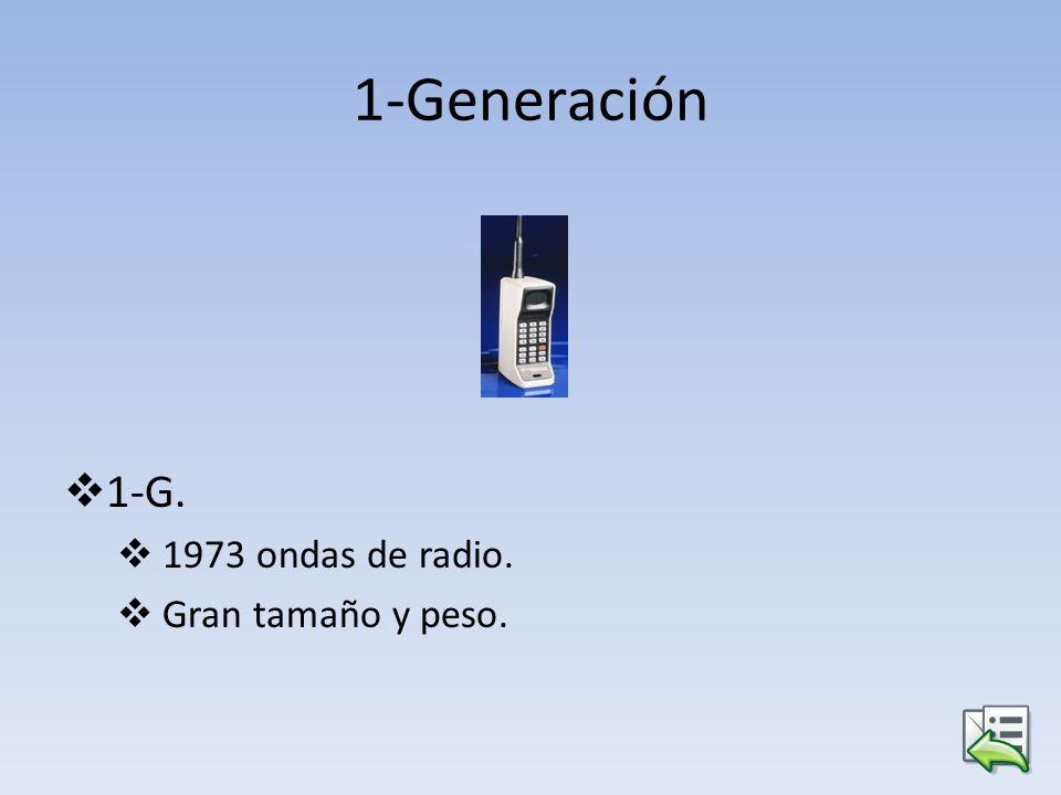 1-Generación 1-G. 1973 ondas de radio. Gran tamaño y peso.