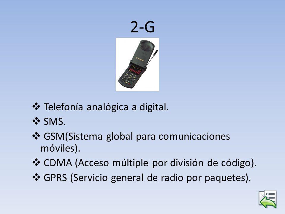 2-G Telefonía analógica a digital. SMS. GSM(Sistema global para comunicaciones móviles). CDMA (Acceso múltiple por división de código). GPRS (Servicio