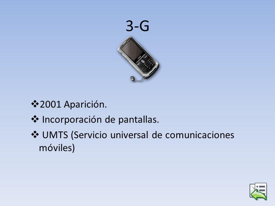 3-G 2001 Aparición. Incorporación de pantallas. UMTS (Servicio universal de comunicaciones móviles)