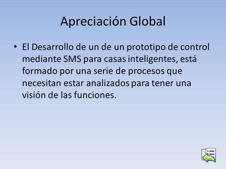 Apreciación Global El Desarrollo de un de un prototipo de control mediante SMS para casas inteligentes, está formado por una serie de procesos que nec