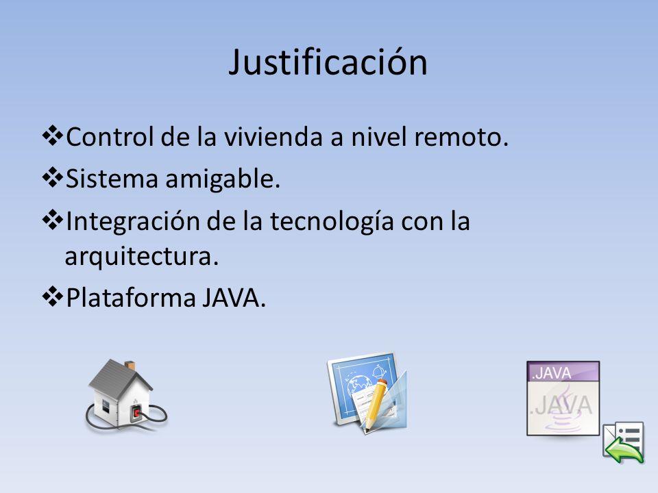 Justificación Control de la vivienda a nivel remoto. Sistema amigable. Integración de la tecnología con la arquitectura. Plataforma JAVA.