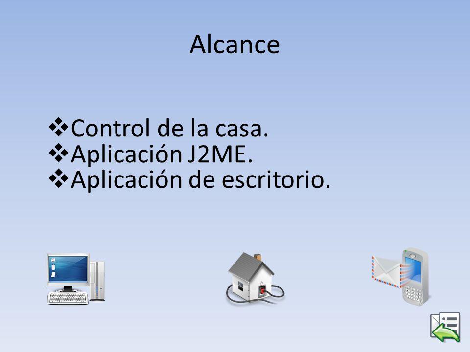 Alcance Control de la casa. Aplicación J2ME. Aplicación de escritorio.