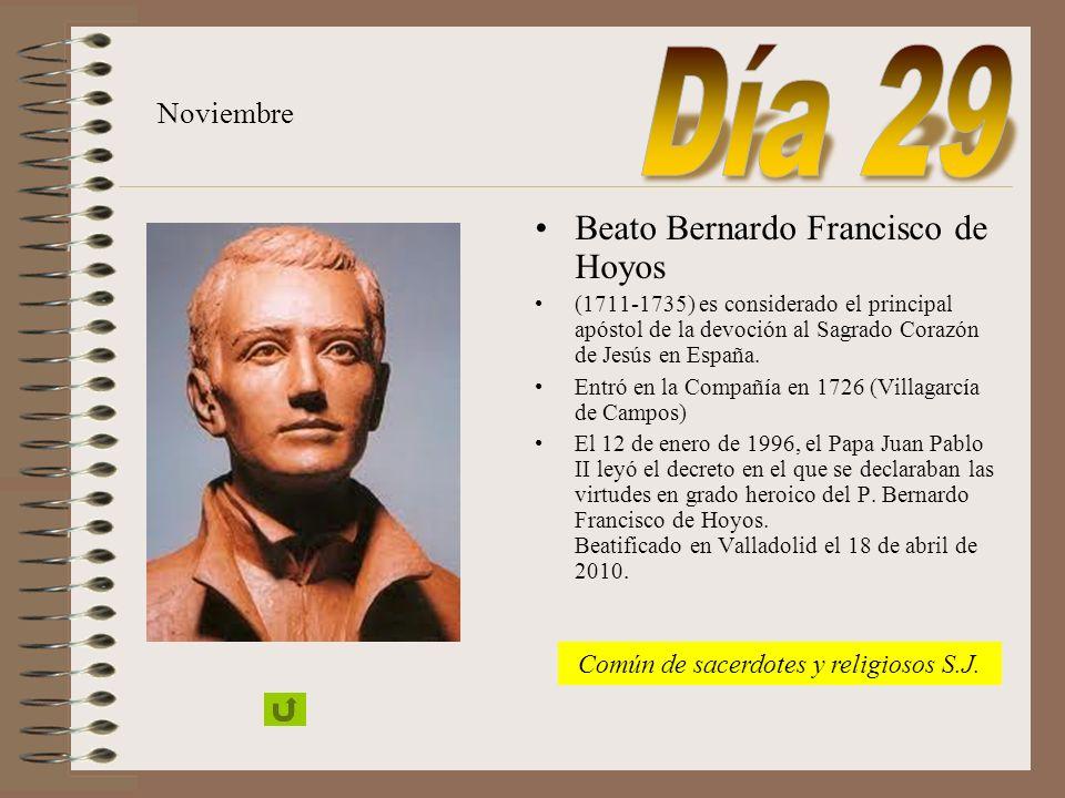 San Juan Berchmans Nace en 1599 en Diest, Bravante. Entró en la Compañía en 1616. Enviado a Roma a estudiar, murió el 13 de agosto de 1621. Destacó po