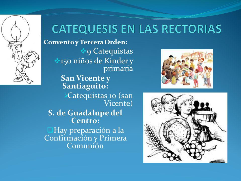 1)Escuela de formación básica en la fe: de 6 a 14 años: Dos centros: 240 niños; 28 catequistas. 2)Catequesis a jóvenes y adultos ya evangelizados en s