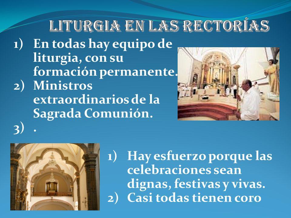 Para cada Eucaristía hay equipo de liturgia. Hay 10 MESC, uno para cada sector para atender a los enfermos. Semanalmente preparamos la liturgia domini