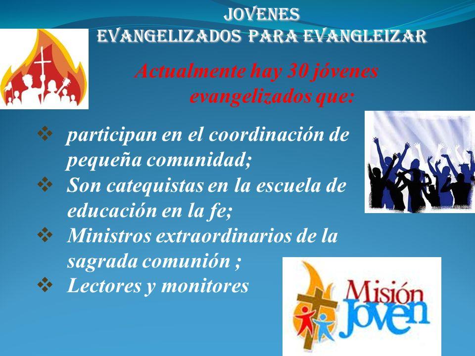 1) Hay en la parroquia 6 jóvenes en el seminario: 4 diocesanos y dos religiosos; 2) Dos jóvenes con religiosas 3) Hay tres semanas al año de promoción