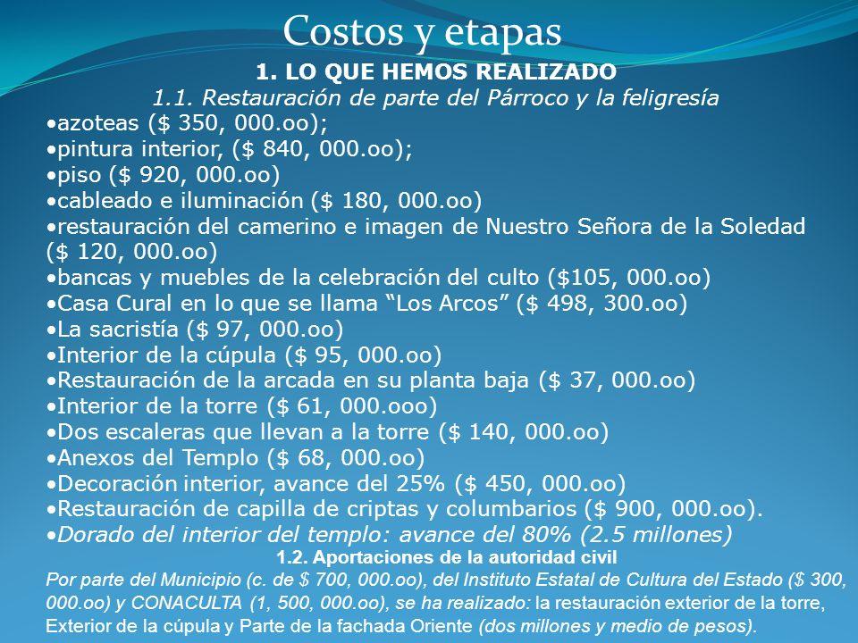 1ª.) Se concretizar el proyecto de las etapas de la restauración. 2ª.) Dar a conocer los proyectos al Instituto Estatal de Cultura del Estado de Guana