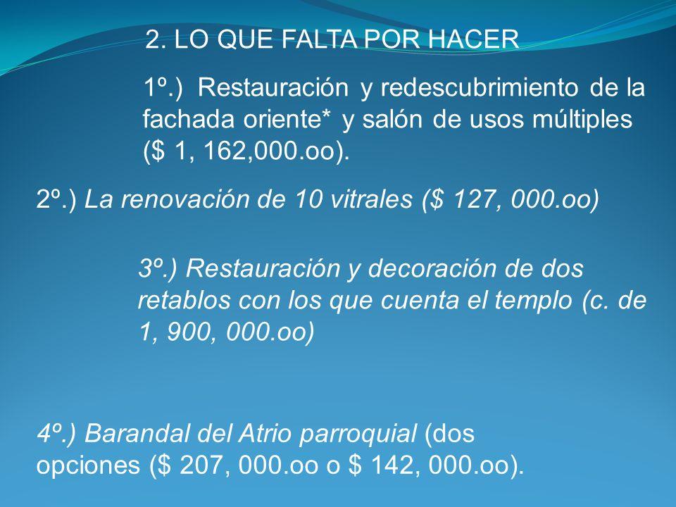 Costos y etapas 1. LO QUE HEMOS REALIZADO 1.1. Restauración de parte del Párroco y la feligresía azoteas ($ 350, 000.oo); pintura interior, ($ 840, 00