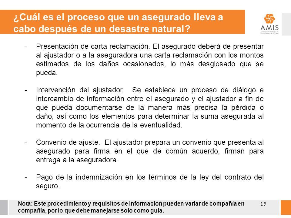 15 -Presentación de carta reclamación. El asegurado deberá de presentar al ajustador o a la aseguradora una carta reclamación con los montos estimados