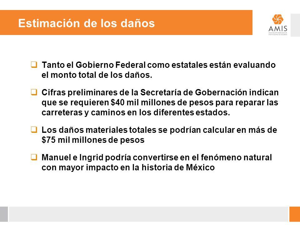Estimación de los daños Tanto el Gobierno Federal como estatales están evaluando el monto total de los daños. Cifras preliminares de la Secretaría de