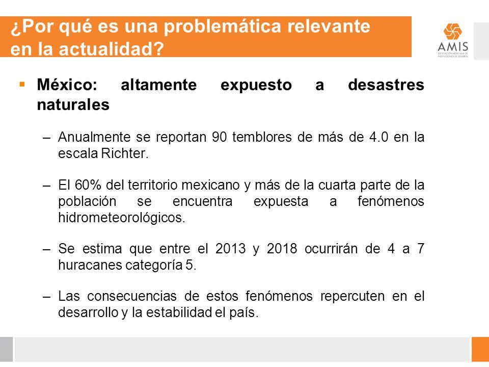 Principales Eventos Catastróficos en México, Monto Pagado por el Sector Asegurador en cada Evento Riesgos Hidrometeorológicos Terremoto / Sismo Helada Fuente: Estimaciones propias, AMIS, (*) Si se inflacionara el monto pagado por el Terremoto de 1985 con el INPC, el monto ascendería a cerca de $42mil millones de dólares.
