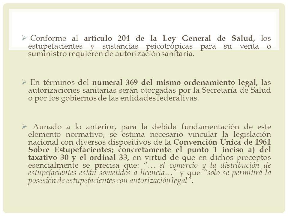 Conforme al artículo 204 de la Ley General de Salud, los estupefacientes y sustancias psicotrópicas para su venta o suministro requieren de autorizaci